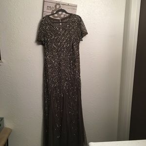 Adrianna Papell gray sheer sequin gown